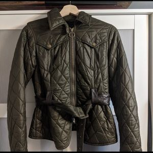 Barbour jacket with belt & padded elbows